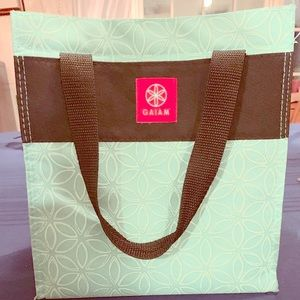 """Gaiam lunch bag/tote, color: teal """"flower of life"""""""